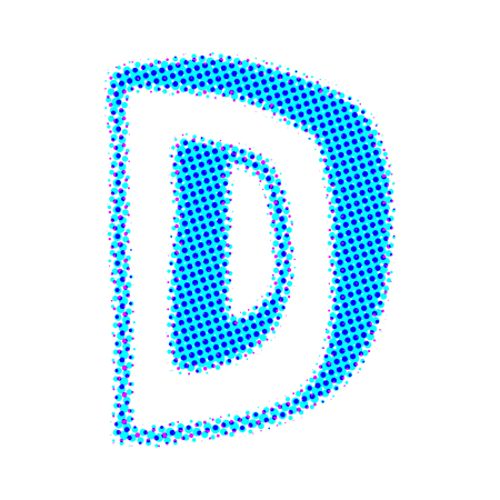 d: Volume letter D from points with shadows.