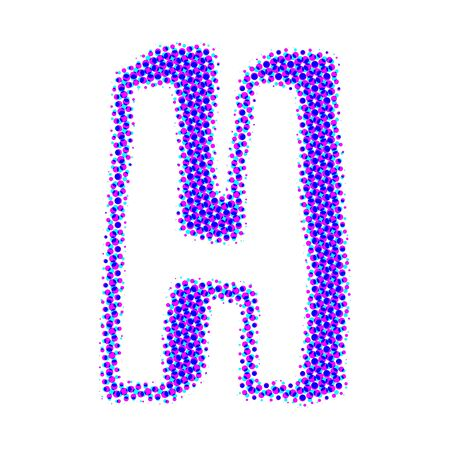sign h: Volume letter H from points with shadows. Stock Photo