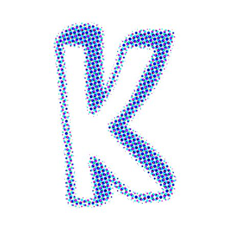 letter k: Volume letter K from points with shadows. Stock Photo
