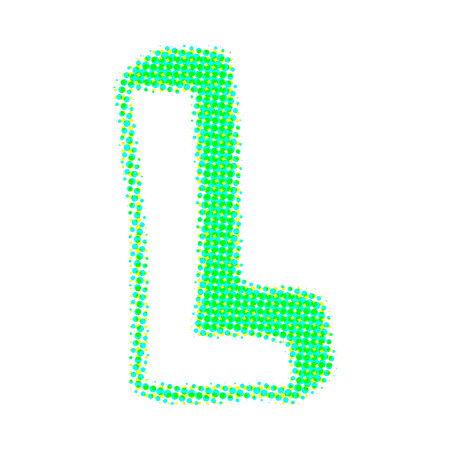 letter l: Volume letter L from points with shadows.