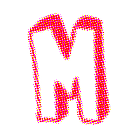 business letter: Volume letter M from points with shadows.