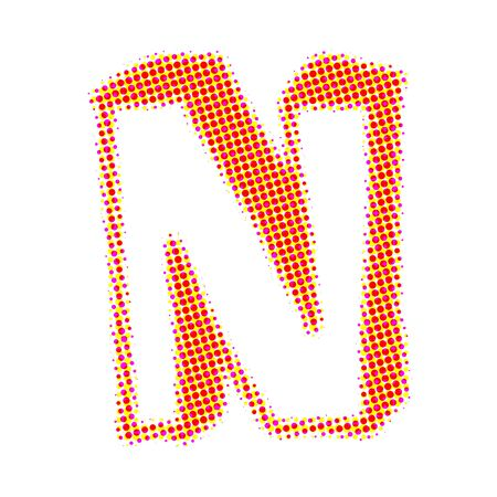 letter n: Volume letter N from points with shadows.