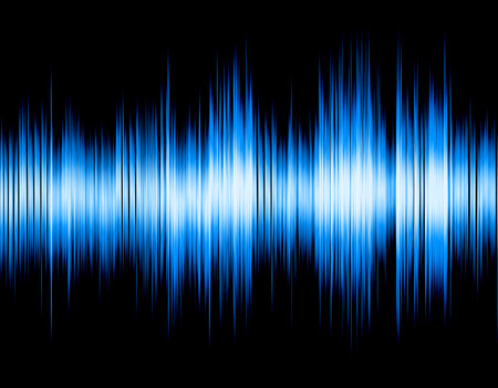wavelength: Blue abstract digital sound wave on a black background. Stock Photo