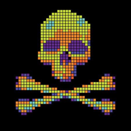 vector skull danger sign: Skull and crossbones collected from pixels on a black background.