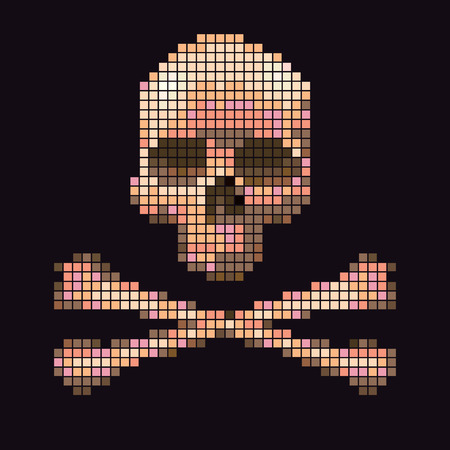crossbones: Skull and crossbones collected from pixels on a black background.