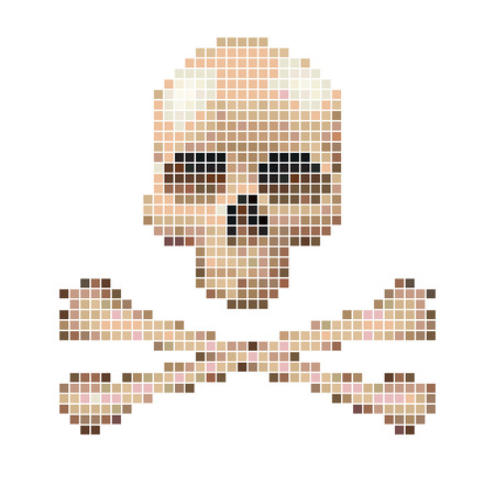 vector skull danger sign: Skull and crossbones collected from pixels on a white background.