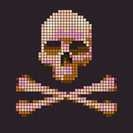 vector skull danger sign: Skull and crossbones collected from pixels on a brown background.