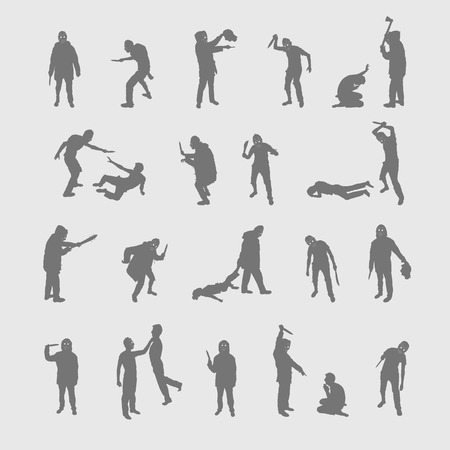 Vector set silhouettes of a maniac on a white background.