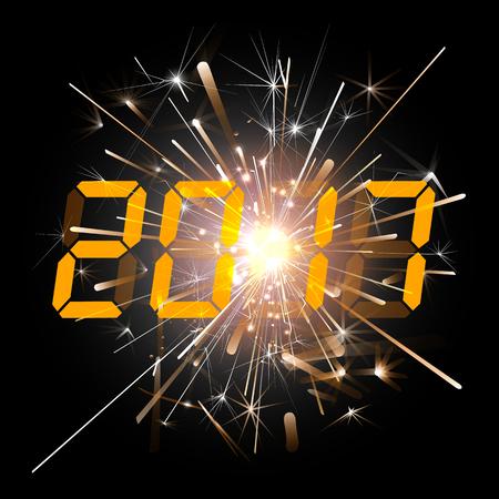 digital numbers: Digital numbers 2017 year time against fireworks. Illustration