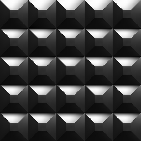Black soundproofing foam background with light. Vector art.