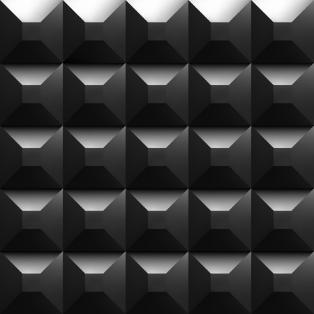 padding: Black soundproofing foam background with light. Vector art.