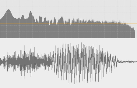 vibrations: Gray sound waves on a white background. Vector art.