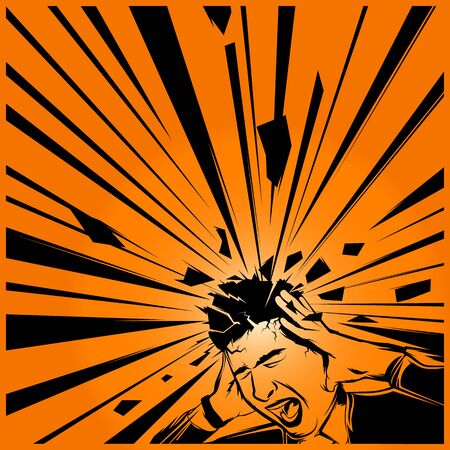 screaming head: Man holding his head and screaming. Painted vector art.