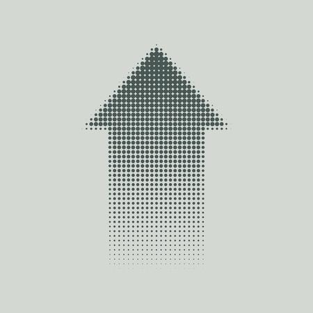 arrow up: Halftone arrow up on a gray background. Vector art.