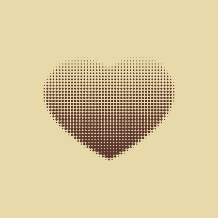 abstract heart background: Dark brown heart painted with dots. Vector art. Illustration