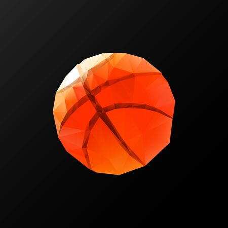low floor: Low poly pattern basketball on a black background. Vector art.