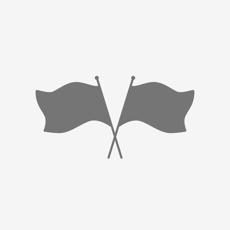 Icon of two crossed flags on a white background. Vector art.