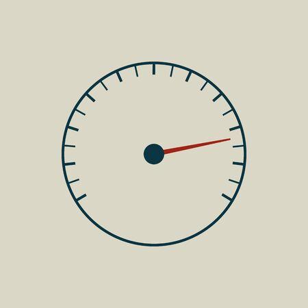 tachometer: Speedometer or tachometer symbol with arrow. Vector art.