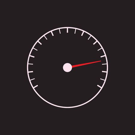 tachometer: Speedometer or tachometer symbol with arrow on a black background. Vector art. Illustration