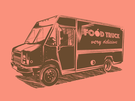 Painted food truck on a pink background. Street food delivery vehicle.