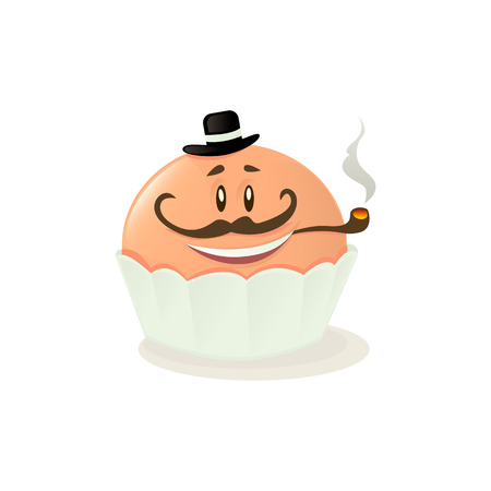 Illustration of a cupcake on a white background. Ilustração
