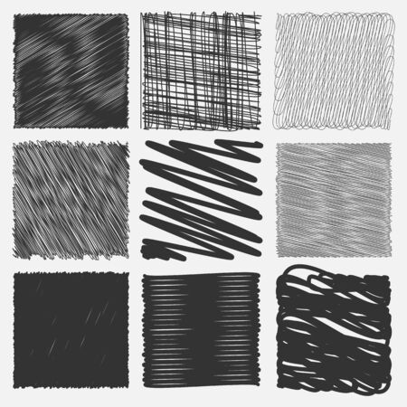 squiggly: Collection of backgrounds with linear doodles. Black and white pattern with hand drawn lines. Abstract squiggly minimal lines entangled set. 9 unique backgrounds to entangled thin and bold lines.