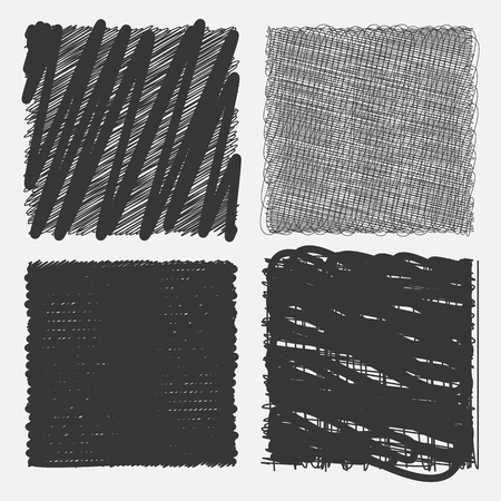 squiggly: Collection of backgrounds with linear doodles. Dark gray and black  pattern with hand drawn lines. Abstract squiggly minimal lines entangled set. 4 unique backgrounds to entangled thin and bold lines.