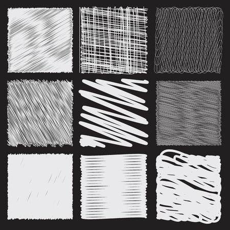 entangled: Collection of backgrounds with linear doodles. Black and white pattern with hand drawn lines. Abstract squiggly minimal lines entangled set. 9 unique backgrounds to entangled thin and bold lines.