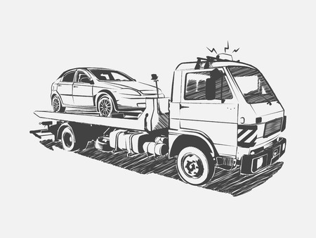the wrecker: Painted vector tow truck on a white background. Vector art.
