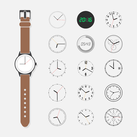 Watch face vector set. Wrist watch and a set of watch face isolated on a light background. Round watch face trendy collection. Fifteen different watch dials. Reklamní fotografie - 54965440