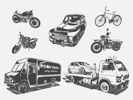 Vektor-Illustration von Transport Motorrad, Fahrrad, Auto, Abschleppwagen, Nahrungsmittel-LKW. Schwarz-Weiß-Darstellung des Verkehrs auf dem hellen Hintergrund isoliert. Verschiedene Straßenverkehr.