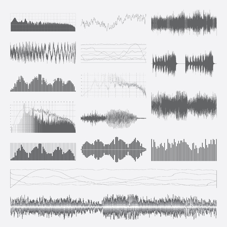 waveform: Music sound waves vector set isolated on a white background. Classical music sound waveform. Sound waves vector black and white. Audio equalizer. Sound waves wallpaper. Sound waves clipart. Illustration