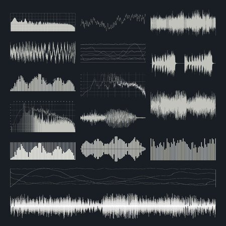 audio electronics: Music sound waves vector set isolated on a dark background. Classical music sound waveform. Sound waves vector black and white. Audio equalizer. Sound waves wallpaper. Sound waves clipart.