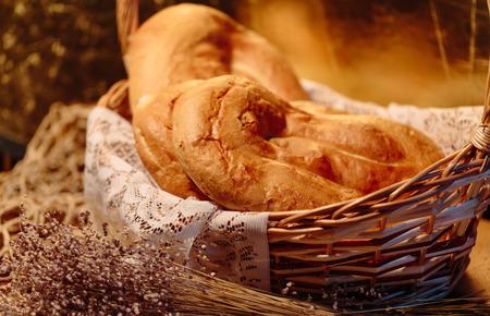 several: Several Armenian homemade mantakash bread in a basket. Colorful photo.