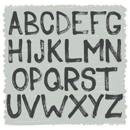 vector raster background: Hand drawn brush alphabet of capital letters. Vector art.