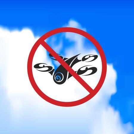 forbidding: Beautiful sign forbidding flight drone. Vector art.