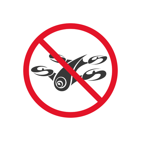 forbidding: Sign forbidding flight drone on a white background. Vector art. Illustration
