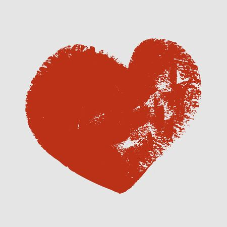 cliche: Cliche of red heart on a white background. Vector art. Illustration