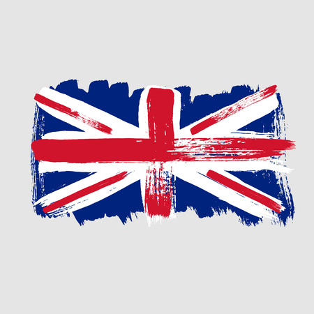 great britain: Flag of Great Britain on a gray background. Vector art.