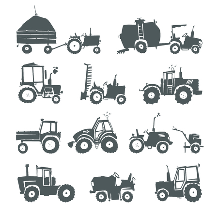 farm machinery: Tractors. Set of funny tractors and specialized equipment isolated on white background. Simple silhouettes icons farm machinery. Web design elements for business, site, mobile app.