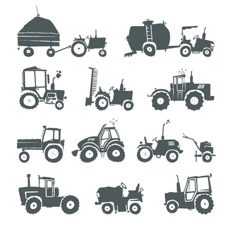 Tracteurs. Ensemble de tracteurs drôles et des équipements spécialisés isolé sur fond blanc. silhouettes simples icônes machines agricoles. éléments de conception Web pour les entreprises, le site, l'application mobile.