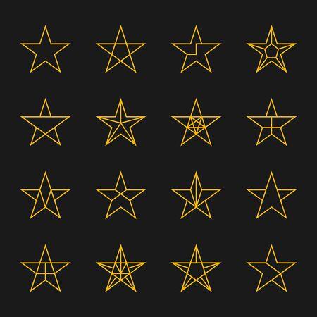 estrellas cinco puntas: Estrellas icono. iconos de líneas delgadas modernas conjunto de estrellas geométricas. De cinco puntas geométrica trazos de una estrella de color oro sobre un fondo negro aislado.