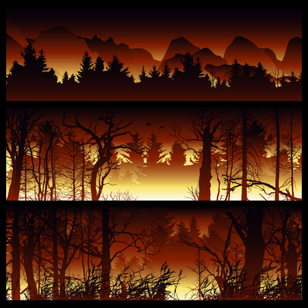 Wildfire background. Burning forest horizontal banners. Forest fire design template. landscape nature, wood natural panorama. Outdoor wildfire design template. Forest fire banner collection.