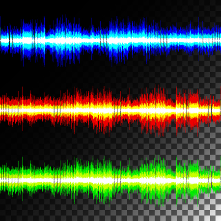 special effects: Visual sound waves on transparent black background isolate. Special effects multicolored equalizer.