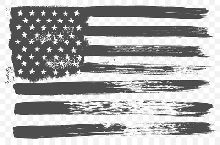 black american: American national flag in black and white grunge style isolated on a transparent background.