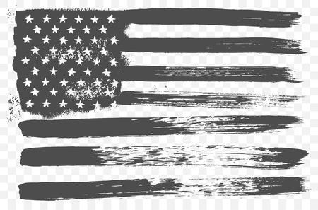 Amerikanischen Nationalflagge in Schwarz-Weiß-Grunge-Stil auf einem transparenten Hintergrund. Standard-Bild - 59935873