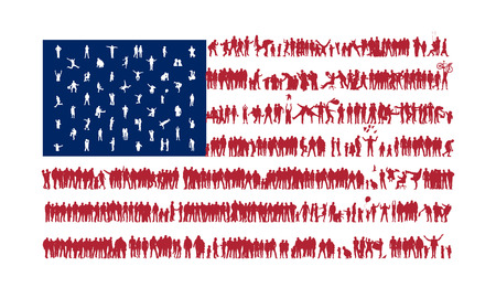 african americans: We are Family. American flag stylized silhouettes of crowds. American national flag silhouettes of different people. USA flag. Flag of the United States. USA flag people. USA flag design. USA nation.