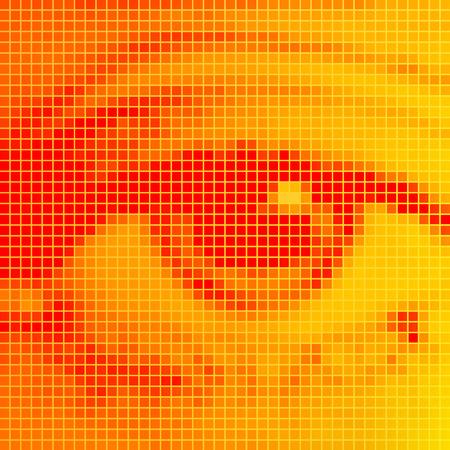 eye closeup: The human eye close-up. Orange pixel effect. Illustration