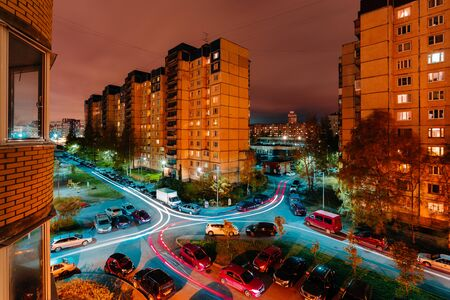 Sleeping area in the evening. Multi-story houses. apartment buildings. View from the window Stock Photo