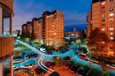 arrears: Sleeping area in the evening. Multi-story houses. apartment buildings. View from the window Stock Photo